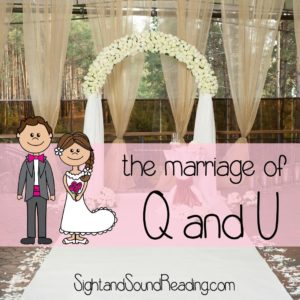 Cute way to teach the letter q to kindergarten students: Have a wedding between the letters Q and U!