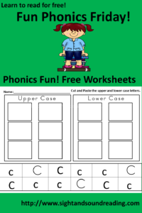 Free Phonics Printable: The Letter Cc - Cut and Paste upper and lower case letters