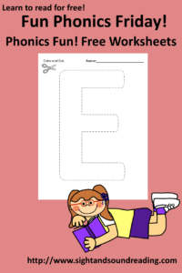 Free Phonics Worksheets on Friday! The Letter E: More free beginning resources can be found at https://dev.sightandsoundreading.com///newsite. #phonics #free #preschool