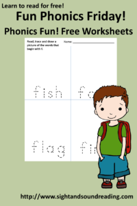 Free phonics worksheet for the letter F.
