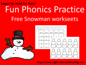 Christmas phonics worksheet: Great for Kindergarten or first grade. Visit https://dev.sightandsoundreading.com to get your free worksheet.