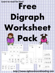 Free Digraph Worksheets for both beginning and ending sounds