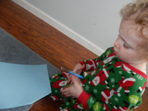 How to hold scissors: Make sure your little one keeps his thumb up when using a scissors