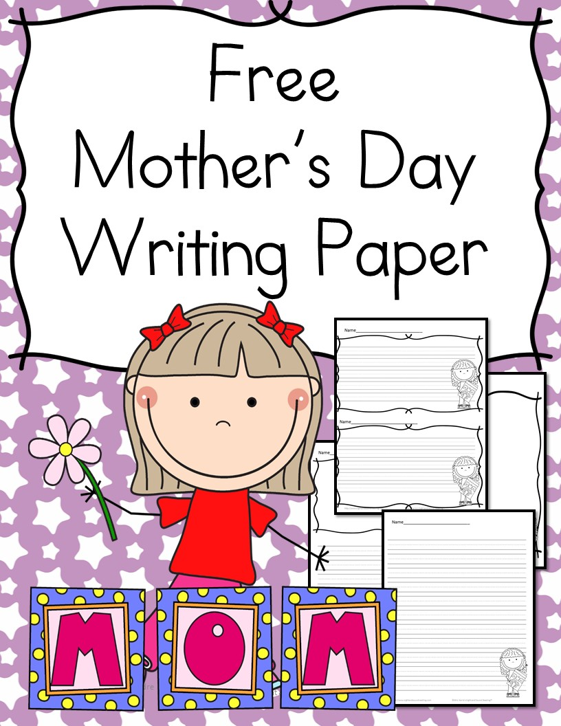 Mothers Day Writing Paper - for Kindergarten -Cute and free paper for students to write and draw notes to their mom.