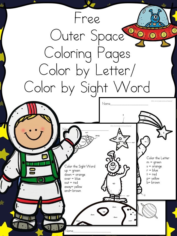 Outer Space Coloring Pages - Color by Letter/Color by Sight Word Pages with an Outer Space Theme. Great for Preschool or Kindergarten.