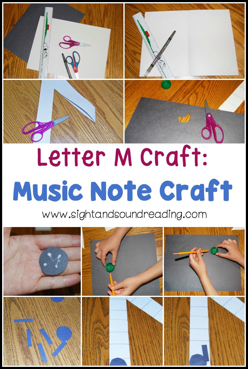 Music begins with the letter M. We are going to make a Letter M Craft: Music Note Craft to teach the letter m sound in a fun way.