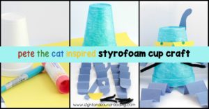 Bring Pete the Cat to life from a Styrofoam or paper cup. Kids will love making Pete the Cat styrofoam cup craft and keeping him on bookshelves.