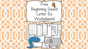 Free Beginning Sounds Letter E worksheets to help you teach the letter C and the sound it makes to preschool or kindergarten students.