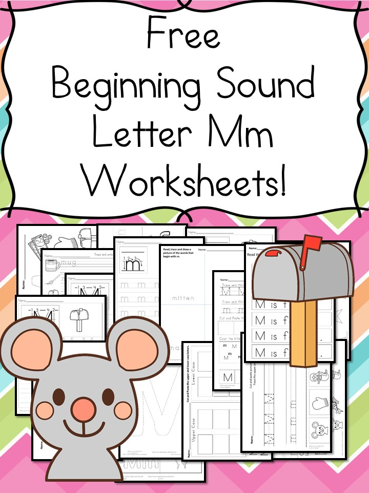 Free Beginning Sounds Letter M worksheets to help you teach the letter M and the sound it makes to preschool or kindergarten students.