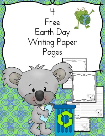 Earth Day Writing Paper - 4 free pages for different levels of students from preschool and kindergarten and beyond.