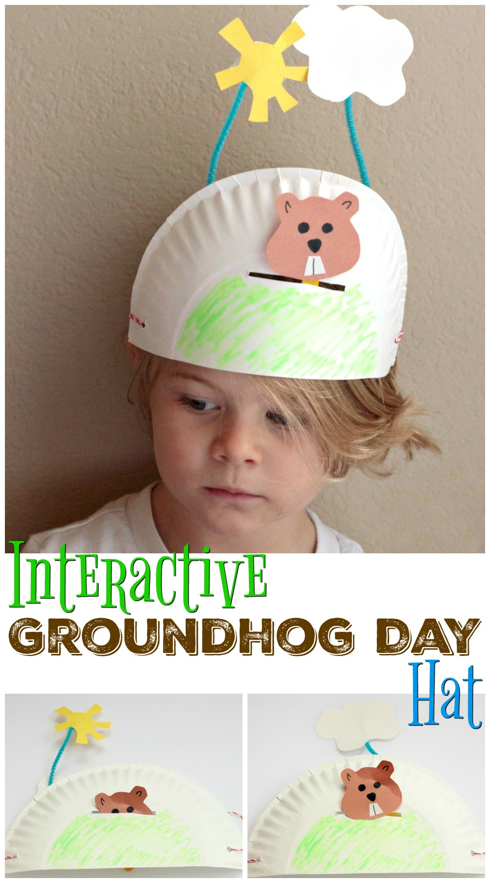 Fun and Interactive Groundhog Craft for preschool, Kindergarten or First Grade. Will the Groundhog see his shadow?