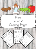 Free Letter A Coloring Pages for Preschool or Kindergarten