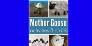 Mother Goose inspired crafts and activities for a Mother Goose theme in preschool or kindergarten.