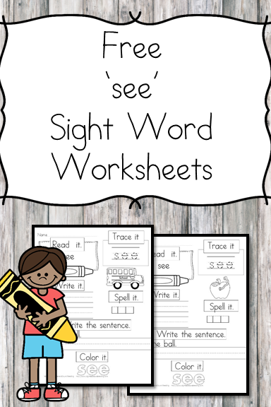 see Sight Word Worksheets -for preschool, kindergarten, or first grade - Build sight word fluency with these interactive sight word worksheets