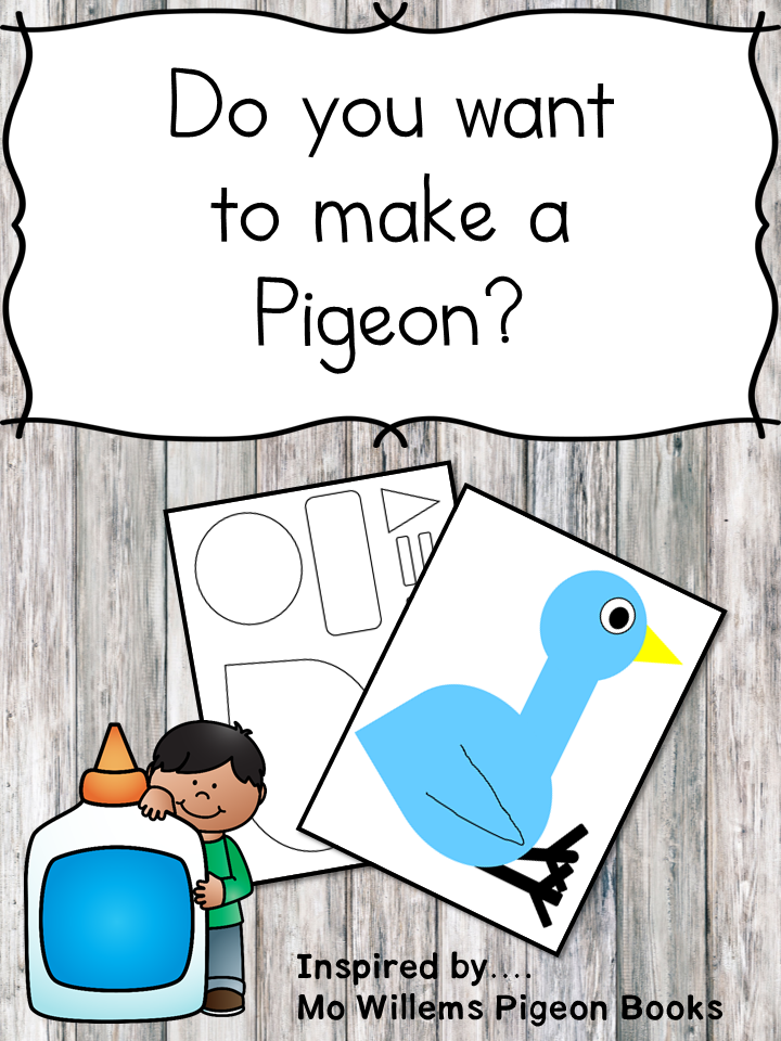 Do you want to make a pigeon? Fun preschool or kindergarten book craft inspired by the Mo Willems Pigeon books!